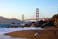 View View of the Golden Gate Bridge from Baker Beach in San Francisco, California