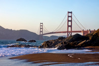 View of the Golden Gate Bridge from Baker Beach in San Francisco, California