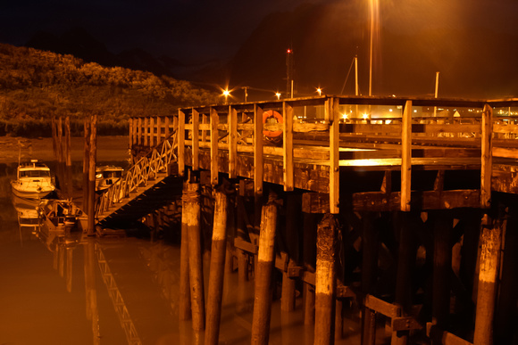 Valdez, Alaska's Small Boat Harbor at Night